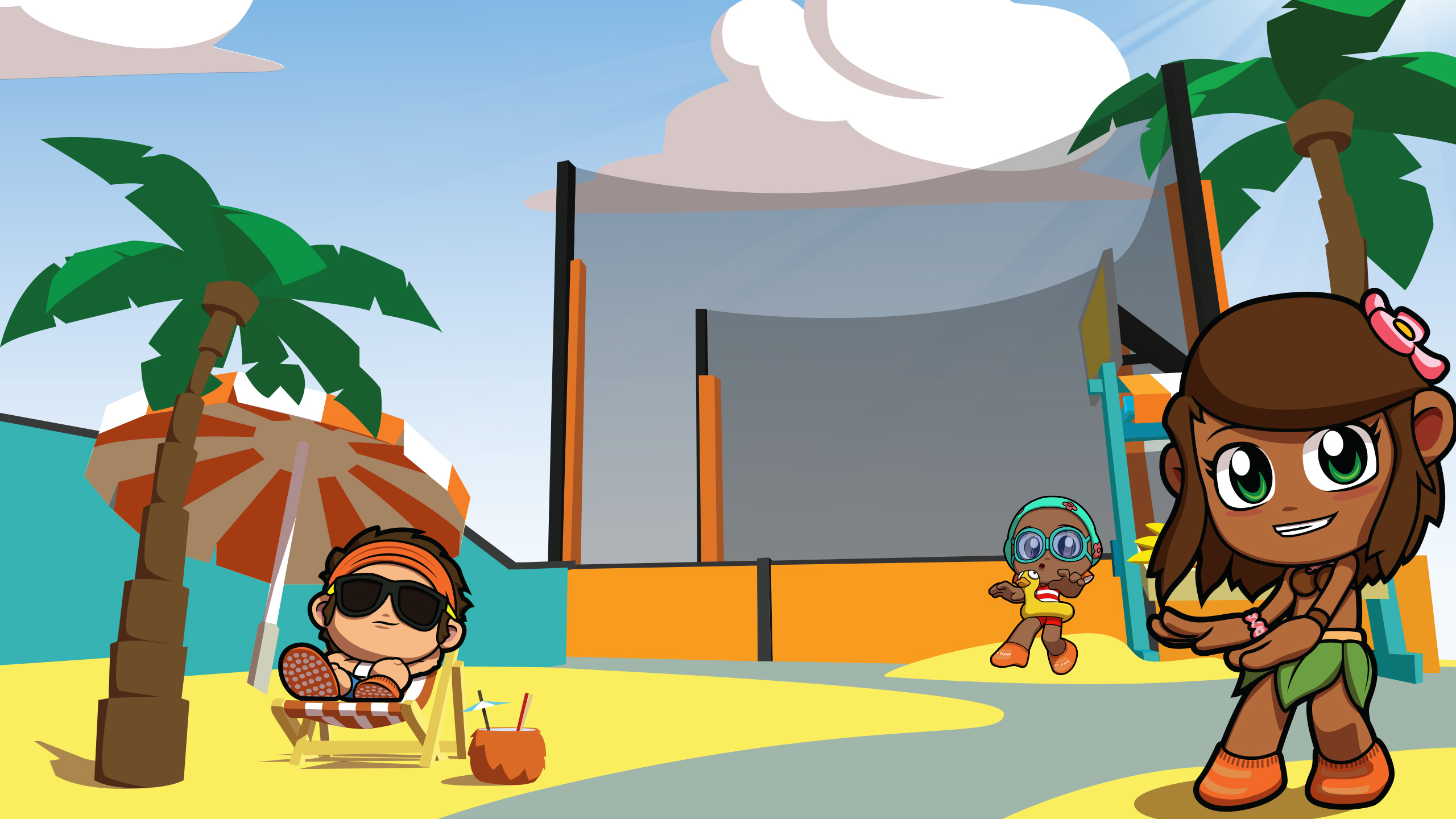 Sky Zone Game characters in summer theme